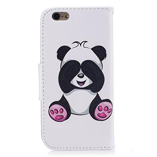 iPhone 6 / 6S (4.7 pouce) Coque , PU Cuir Étui Protection Wallet Housse la Haute Qualité Pochette Anti-rayures Couverture Bumper Magnétique Antichoc Case Anfire Cover pour iPhone 6 - Panda Panda