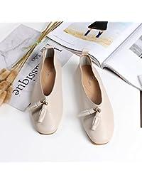 Angrousobiu Design élégant et unique bouche peu profonde à tête ronde à fond plat chaussures confortables et fille de terrasse polyvalent chaussures de ballet, 36, marron