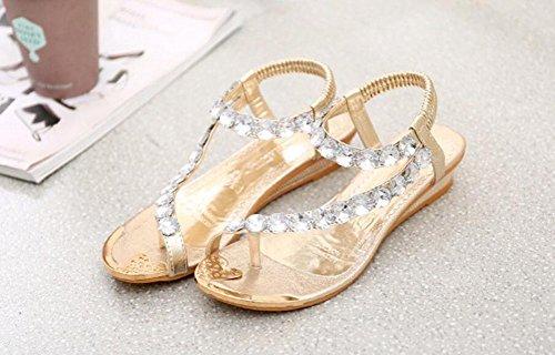 Wealsex flip sandalen damen Römersandalen Sommer Sandalen Strass Flip Flops Gold