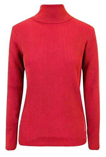 Neu Damen Stretch Einfach Gerippt Damen Langärmlig Schlicht Rollkragen Top - Rot, 40-42 (Rot Gerippt Pullover)