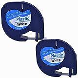 2XCompatible Dymo LetraTag 91201 Black on White (12mm x 4m) Plastic Label Tapes for Dymo LetraTag LT-100H, LT-100T, LT-110T, QX 50, XR, XM, 2000, Plus Label Makers