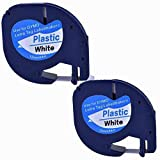 2XCompatible Dymo LetraTag 91201 Black on White (12mm x 4m) Plastic Label Tapes for Dymo LetraTag...