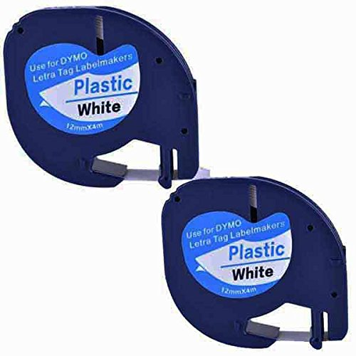 2XCompatible Dymo LetraTag 91221 91201 S0721660 Black on White (12mm x 4m) Plastic Label Tapes for Dymo LetraTag LT-100H LT-100T LT-110T QX 50 XR XM 2000 Plus Label Makers (Color 4 X)