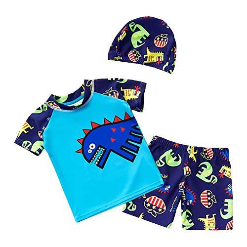 SM SunniMix Kinder UV Shirt Kurzarm Badeshirt Schwimmshirt mit Shorts und Schwimmkappe - Blau, 2XL