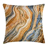 KAKICS Marble Throw Pillow Cushion Cover, Colorful Rock Quartz Surface Background Formation Abstract Picture, Decorative Square Accent Pillow Case, 18 X 18 Inches, Slate Blue Orange Apricot