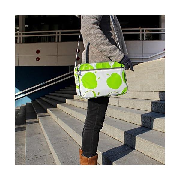 Small Shoulder Bag Messenger Bag Handbag for women and girls with vintage pattern crossbody waterproof Manzanas green - handmade-bags