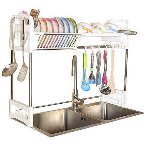 &étagère de rangement Porte-vaisselle 1-Tier Double Slot Plastique Dry Shelf Porte-couverts de cuisine avec étagère empilable rangée (double rainure) Facile à assembler 80 * 24.5 * 64.5CM Rack de fini