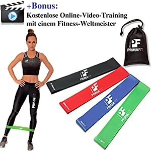 PrimaFit Fitnessbänder Set 4 Gymnastikbander Loops fur Yoga Pilates Crossfit Widerstandsbander Trainingsbander Muskelaufbau Rehabilitation Krankengymnastik Fitnessband Gummi Online-Video Training