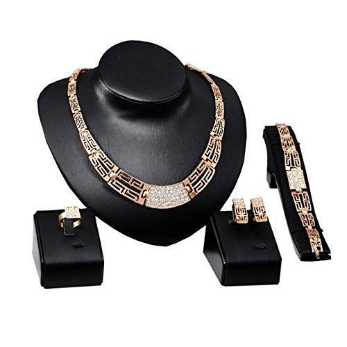 Femmes Tête de lion Collier Boucle d'oreille Bracelet Bague Bijoux Parures Or6