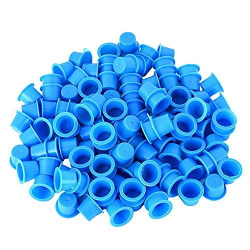 Gazechimp 100pcs Set Plastik Tattoo Kappe Tätowierung Farbkappen Tattoofarbe Kappen (Größe M) - Blau