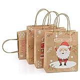 GWHOLE 12 Pezzi Natale Sacchetti di Carta Festa Carta Kraft Regalo Sacchetti Regalo con Maniglia per Christmas, Regali, Matrimonio, Compleanno