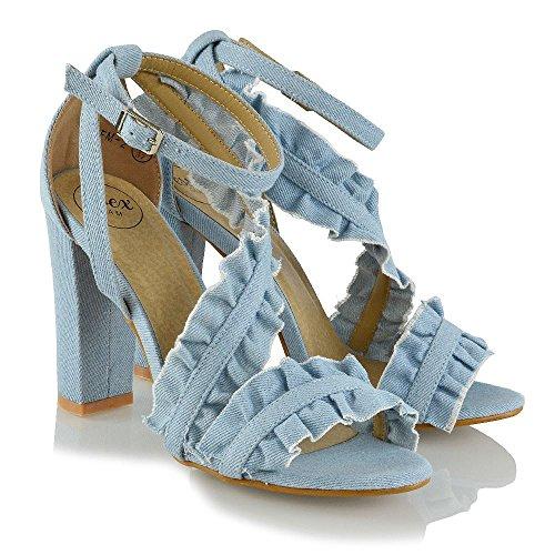 ESSEX GLAM Donna Elegante Increspatura Cinturino alla Caviglia Sandalo Le Signore L'alto Tacco Sintetico Sera Formale Scarpe Denim
