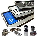 EDELSIGN - 2 x DESIGN Kennzeichenhalter / Nummernschildhalter SILVER + 4x Chrom Valve Caps