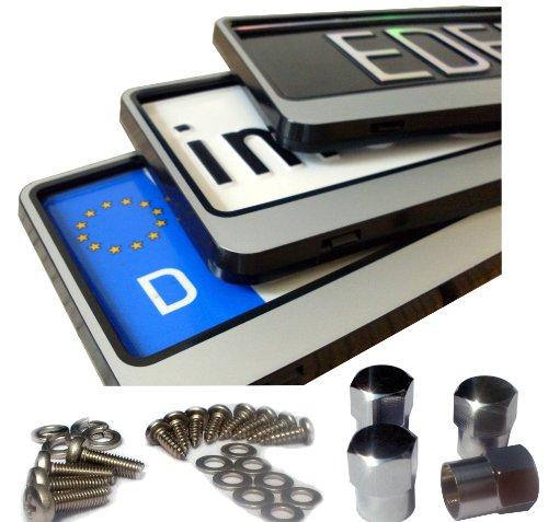 EDELSIGN - 2 x DESIGN Kennzeichenhalter / Nummernschildhalter SILVER + 4x Chrom Valve Caps - Anhänger-reifen-halter
