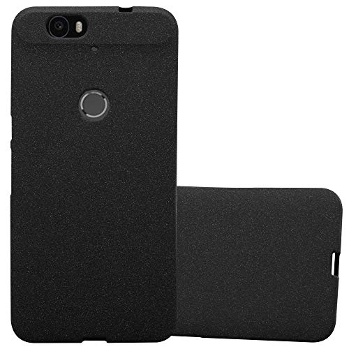 Cadorabo Hülle für Huawei Nexus 6P - Hülle in Frost SCHWARZ – Handyhülle aus TPU Silikon im matten Frosted Design - Silikonhülle Schutzhülle Ultra Slim Soft Back Cover Case Bumper