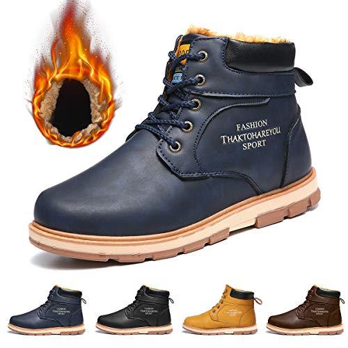 Gracosy stivali da uomo impermeabili, scarpe da neve invernali in sintetico pelle più velluto martin boots delicatamente morbido di piattocalzature sneaker nero marrone blu giallo sconto natale regalo