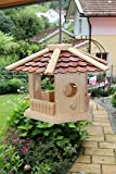 Vogelhaus-Vogelhäuser-(V74)-sechs eck Braun-Vogelfutterhaus Vogelhäuschen-aus Holz