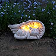 Festive Lights Memorial Gravestone - Cat - Solar Powered - Warm White LED - Outdoor (Angel Cat)