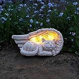 Geschmackvoll und liebevoll gestalteter Gedenkstein mit solarbetriebener LED Beleuchtung - inkl. Akkus, integrierten Solarpaneelen und Dämmerungsschalter, von Festive Lights (Engelsflügel mit Katze)