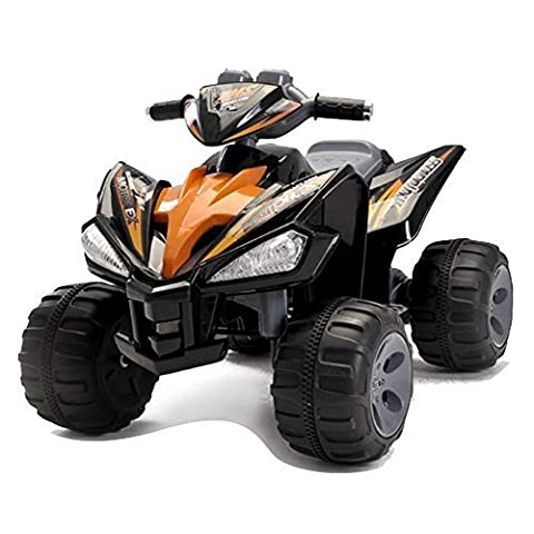 12V RECHARGEABLE KIDS RIDE ON 2 WHEEL DRIVE BLACK QUAD BIKE + head lights, sounds buttons. (12V QUAD BIKE BLACK) by Y & Y TOY STORE ON LINE
