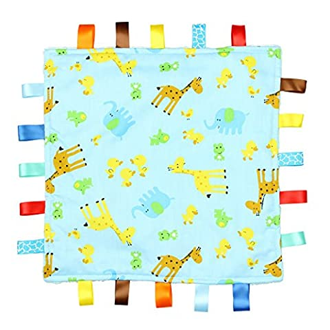 Blue Baby Tag, Taggy Blanket - Blue with Giraffe, Elephant and Chick Animal Tag, Taggy Blanket - Plain Blue Textured Underside