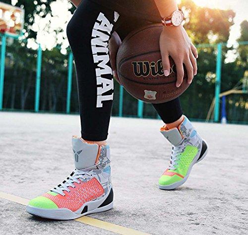 Scarpe Da Basket Da Uomo Hi-top Sneaker Traspirante Leggero PU Scarpe Da Ginnastica Allaperto Indoor Gray