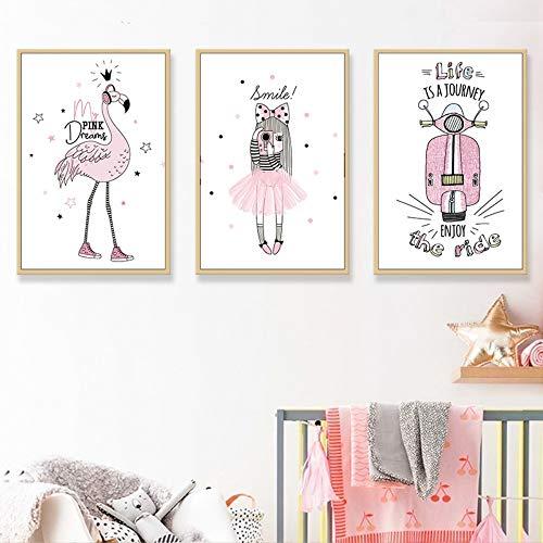 ZSHSCL Impresión En Lienzo De Pintura 3 Piezas Moderno Minimalista Kawaii Pink Cartoon Girl Flamingo Habitación De Los Niños Arte De La Lona Pintura Impresión del Cartel Imagen Nórdica Decoratio C