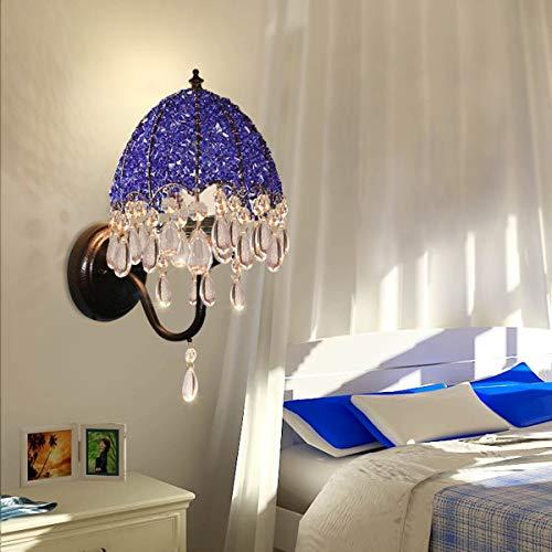 ZGYQGOO Vintage Wandleuchte Nordic handgewebte Schlafzimmer weiß Hochzeit Bett Crystal Wandlampe, Blauer Lampenschirm, Durchmesser 7,1 Zoll hoch 12,6 Zoll (Farbe: blau) -