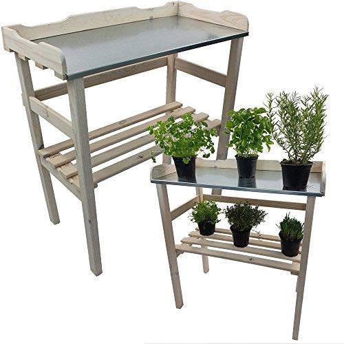 PROHEIM Table de rempotage/Jardinage 82 x 78 x 38 cm en Blanc - Table de Jardin pour Pots de Fleurs en Bois FSC® impregné et Surface de Travail en métal galvanisé