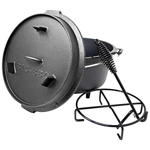 ToCis Big BBQ Premium Dutch Oven 6.0 Gusseisen eingebrannt 12er Kochtopf mit Deckelheber Deckelständer mit Füße