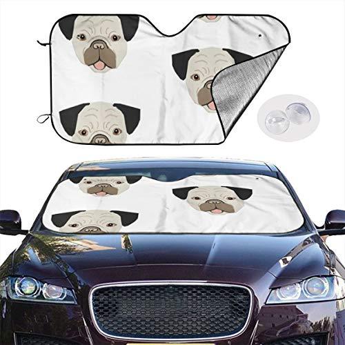 Car Windshield Sun Shade Pugs Dog Pug Dogs Pet Dog Cute Pet Dogs Pet Keep Your Vehicle Cool UV Sun Heat Reflector 51.2x27.5 Inchs Video-extension-kit