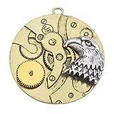 Souarts Antik Gold und Silber Farbe Adler Kopf Punk mechanisches Zahnrad Schmuckzubehör Basteln Charms Anhänger Für Halskette Armband