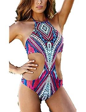 Bikinis con sujetador efecto Push-up Mujer Boho Traje de Baño Dos Piezas Conjuntos de Bikinis de Impresión Swimsuit