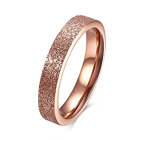 FJYOURIA Stainless Steel Matte Finish Sand-Blasted Band Ring for Women