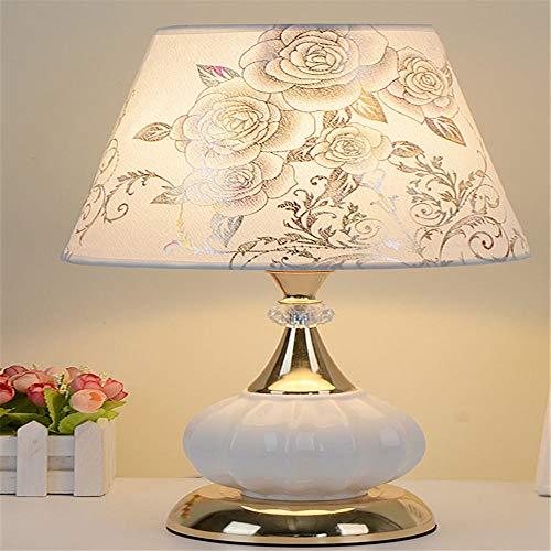 Cohleb Nachttischlampe Tischlampe Europäische Moderne Schlafzimmer Nachttischlampe Fütterung Kreative Touch Arbeitszimmer Verstellbares Licht Fernbedienung Gold Basis Blumenmuster 43 Cm, Druckschalter