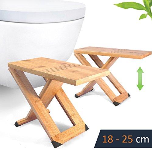 RELAXX Squatty Toilettenhocker WC Hocker - verstellbar bis 17, 19, 22 und 25 cm - Bambus holz - Faltbar und Tragbar - effektiv gegen Hämorrhoiden, Verstopfung, Reizdarm (2 Stück) - Schwarz