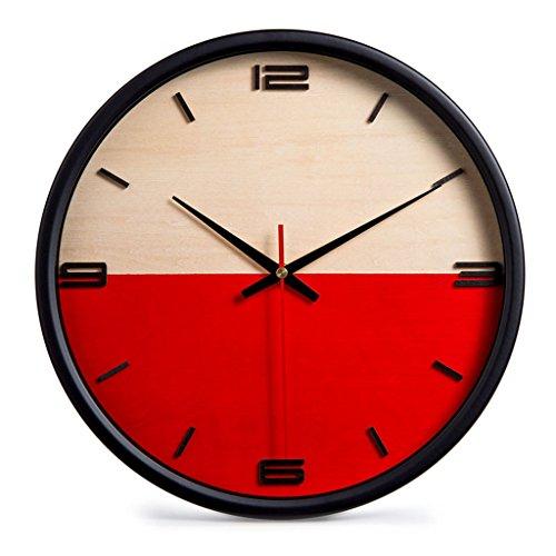 Horloges Convient pour Le Salon Murale en Bois Rondes et Montres Style Moderne et Chambre muet muet (Color : Red-B, Size : 30cm(12inch))