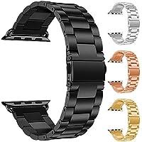 YUYOUG - Correa de reloj de acero inoxidable clásico, ajustable, correa de repuesto para deportes, correa de muñeca refinada, doble cierre plegable para Apple Watch Series 4, 40 mm/44 mm, negro, 44 mm