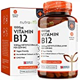 Vitamin B12 1000mcg - 365 Tablets (1 Year's Supply) of Vegan Methylcobalamin - Contributes to The Reduction of Tiredness and Fatigue - Made in The UK by Nutravita