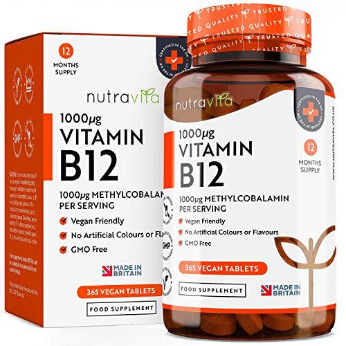 Vitamina B12 1000 mg Vegano Máxima absorción - 365 comprimidos Veganos (Suministro de12 meses) de liberación prolongada de metilcobalamina - Hecho en el Reino Unido por Nutravita
