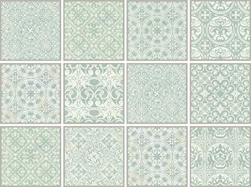 Cuadros Lifestyle Dekorative Stickerfliesen mit tollen Motiven und Ornamenten für Wände und Fliesen   12 teiliges Set   seidenmatt, Größe:15x15 cm