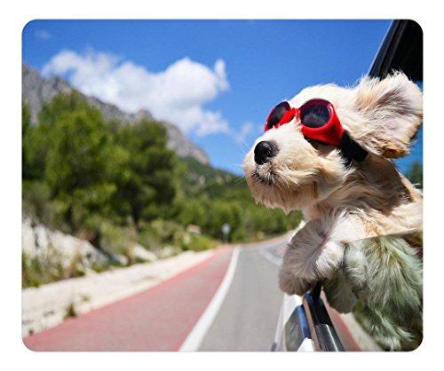 scorpio-leo Individuelle Maus Pad mit einer länglichen Süßer Hund mit Sonnenbrille Persönlichen Mousepad rutschfest Gaming Maus Pads