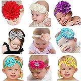 Jmitha Bambino fascia Fasce di fiore della neonata Cerchietto elastico Accessori per capelli a fiori (B 9 pezzi)