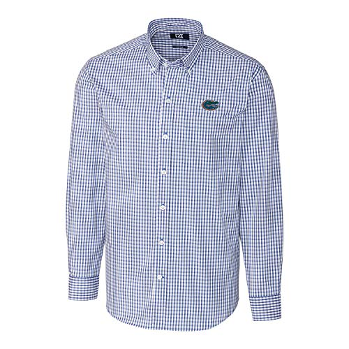 NCAA Herren Lange Ärmel Button-Down Stretch Gingham Shirt, Herren, Long Sleeve Button Down Stretch Gingham Shirt, Tour Blue, Large -