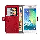JAMMYLIZARD Lederhülle für Samsung Galaxy A3 2015 | Handyhülle Book Case Tasche [ Luxuriöse Series ] Ledertasche Flip Cover Hülle Leder Schutzhülle mit Kartenfach, Rot
