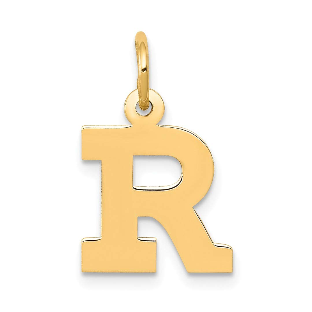 14k Yellow Gold Small Block Initial Monogram Name Letter R Pendant Charm Necklace Fine Jewellery For Women Gifts For Her