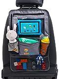 Autositz Organizer für Kinder, Rücklehenschutz in grau mit extra großen Taschen und iPad/Tablet Halter mit Touch Screen
