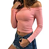 Hey~Yo Herbst Winter Bustier Oberteile Damen Einfarbig Wort Schulter Crop T-Shirt Tops Reizvolle Schulterfrei Bolero Pulli Langarm Pullover Blouse Tuniken Hemden Sweatshirt- Gr. 38 (L), Rosa