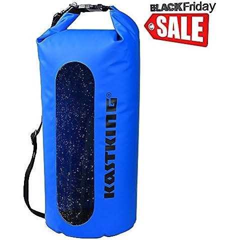 KastKing® Dry Bag impermeabile per la nautica, rafting, kayak, pesca, canoa, sci, snowboard e viaggi di campeggio - duro, resistente, 100% impermeabile Roll Top Dry Bag (Blu, 30L)
