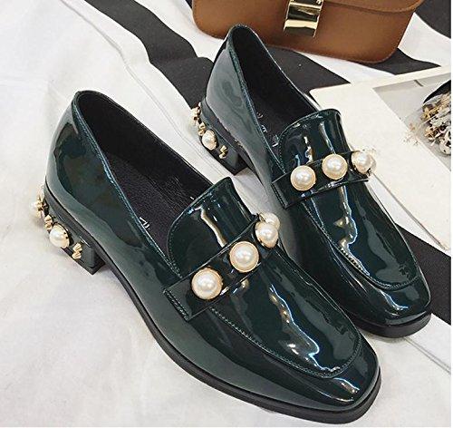 La Nueva Cabeza Cuadrada Zapatos Zapatos De Mujer Con Perlas De Época En Bruto Con Una Pequeña Perla De Los Zapatos De Cuero Verde